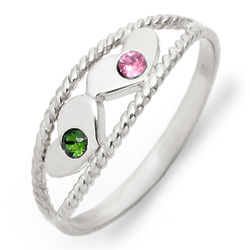 2-Birthstone Twisted Rope Silver Mother's Ring