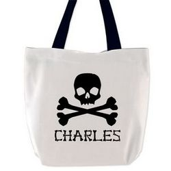 Skull and Crossbones Personalized Name Treat Bag