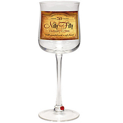 Nifty Fifty Wine Time Wine Glass