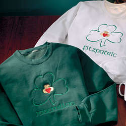 Claddagh and Shamrock Embroidered Sweatshirts