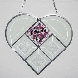Beveled Glass Heart Window Hanging with Fused Tile Center