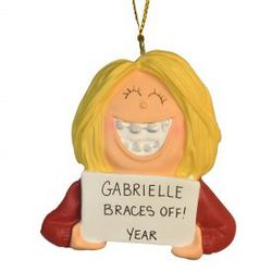Personalized Braces Off Ornament in Blonde Girl