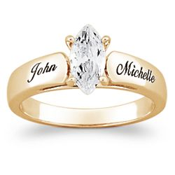 Personalized Marquise Cubic Zirconia Engagement Ring