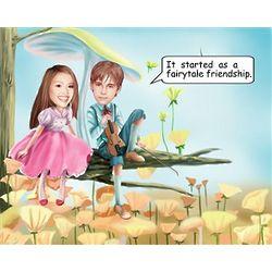 Custom Photo Fairytale Friendship Caricature Art