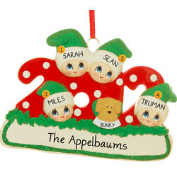 Personalized 2012 Family of Four with Dog Ornament