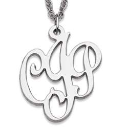 Personalized Sterling Silver 3-Initial Script Monogram Necklace