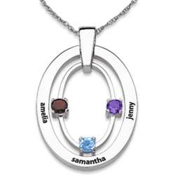 Sterling Silver Family Three Birthstone and Name Oval Necklace