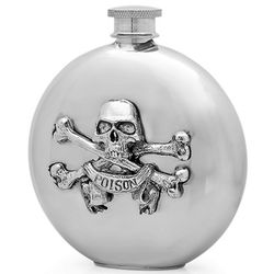 Poison Skull and Crossbones Round Pewter Flask