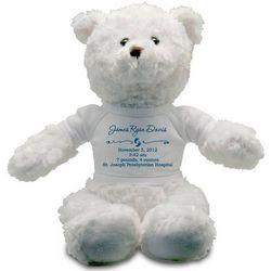 Baby Boy Birth Record Personalized Teddy Bear
