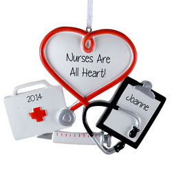 Nurses Are All Heart Personalized Ornament