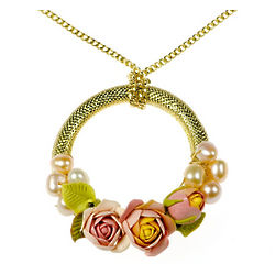 Yellow Polymer Clay Floral Necklace