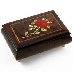 Single Stem Red Rose Music Box