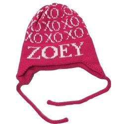 Child's XOXO Knit Name Hat with Earflaps