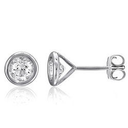 Sterling Silver Bezel Round CZ Solitaire Stud Earrings