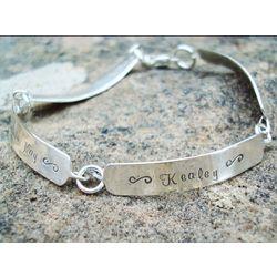 Sterling Silver Custom Hand Stamped Link Bracelet