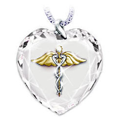 Healing Touch Crystal Heart Caduceus Pendant Necklace