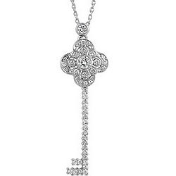 Sterling Silver CZ Clover Shaped Key Pendant Necklace