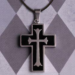 Personalized Black Inlay Cross Pendant
