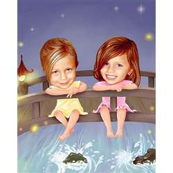 Personalized Splish Splash Bridge Caricature Art Print