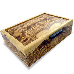 Burled Olive Ash Wood Men's Valet Box