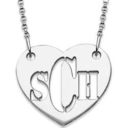 Sterling Silver Cut-Out Monogram Heart Necklace
