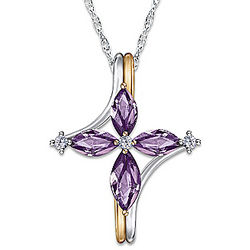 Amethyst and Diamond Trinity Cross Pendant Necklace