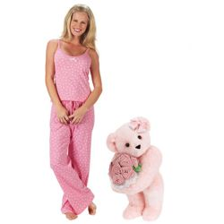 Pink Rose Bouquet Teddy Bear and Pink Pajamas