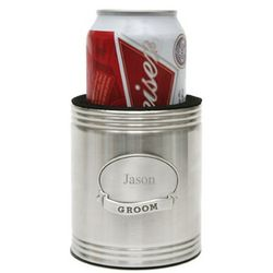 Wedding Beverage Koozie with Personalized Medallion
