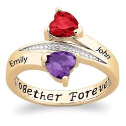 Gold Over Sterling Couple's Birthstone Hearts Name Ring