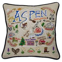 Hand Embroidered Ski Aspen Pillow