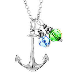 Sterling Silver Anchor Pendant with Dangling Birthstones