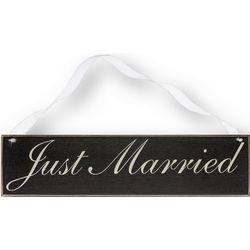 Just Married Scripted Wooden Sign