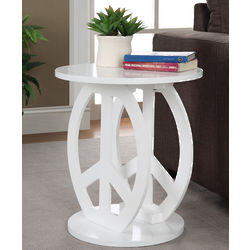 White Peace Sign End Table