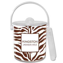 Brown Zebra Print Personalized Ice Bucket
