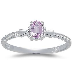 Oval Imperial Pink Topaz Solitaire Ring in 14K White Gold