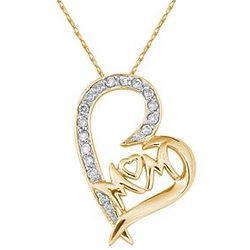 Mom Diamond Heart Pendant in 10k Yellow Gold