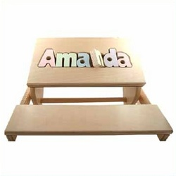Personalized Puzzle Pieces Flip Stool