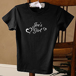 Personalized She's My Girl Black Fitted Tee