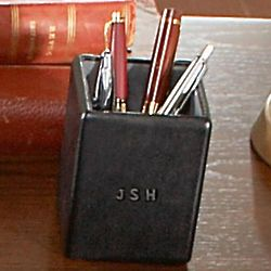 Personalized Leather Pen and Pencil Holder