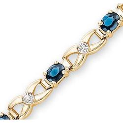 14K Yellow Gold Blue Sapphire Diamond XOXO Bracelet