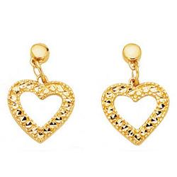 Diamond-Cut Open Heart Earrings in 14K Yellow Gold