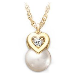 Precious Granddaughter Cultured Pearl and Diamond Pendant