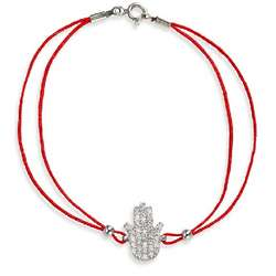 Red Silk Cord and Cubic Zirconia Hamsa Bracelet