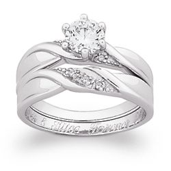 Sterling Silver 2 Piece CZ and Diamond Engraved Wedding Ring