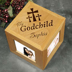 Engraved My Godchild Wood Photo Cube