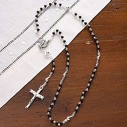 Boy's Personalized Black Onyx Rosary