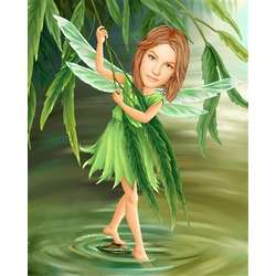 Personalized River Pixie Caricature Art Print