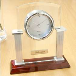 Modern Glass, Metal and Wood Mantle Clock