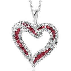 Lab-Created Ruby and Sapphire Sterling Silver Heart Necklace