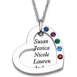 Sterling Silver Family Name and Birthstone Double Heart Necklace
